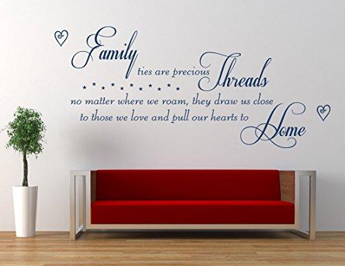 'Family ties are precious Threads' Gedicht, Zitat, Vinyl Wandkunst Aufkleber. Wandbild, Aufkleber. Zuhause, Wanddekor. Familienzitat, Heimzitat, Wohnzimmer, Esszimmer, Schlafzimmer