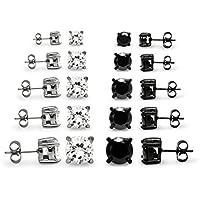 Silverline Jewelry- 10Set di 2bianco e nero in acciaio inox