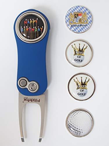 RoLoGOLF Pitchfix Hybrid 2.0 - aufklappbare Pitchgabel in blau incl. 1 Golfball-Marker mit Motiv -