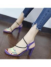 f9c4490fc9648 YMFIE Sandali tacco alto donna moda retrò europeo comodo open toe tacchi  alti
