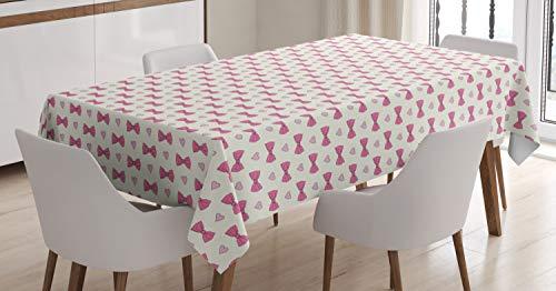 Abakuhaus nozze tovaglia, san valentino papillon, stampa con i colori chiari lavabile per l'uso interno ed esterno, 140 x 200 cm, crema rosa