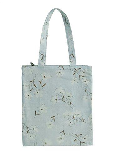 Nuni Damen Narziscus Floral Baumwolle Canvas Tote Schultertasche Einkaufstasche Einkaufstasche Blau, Blau (Zip Closure), Medium -