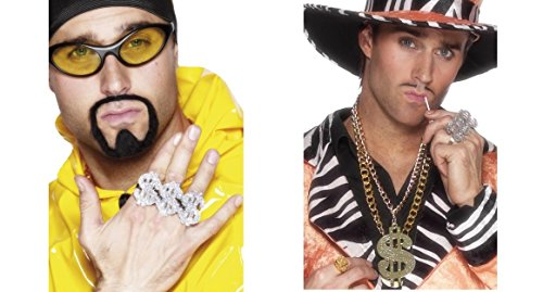 Kostüm Für Pimp Erwachsenen - Dollar Sign Rapper Ali G Ring and Medallion Gangster Pimp Adult Fancy Dress Accessory Kit