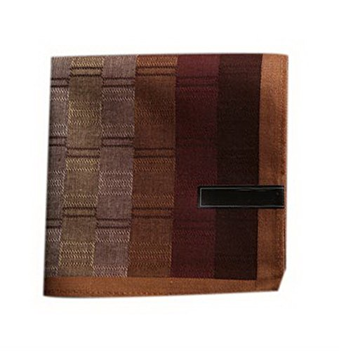 Preisvergleich Produktbild Packung mit 2 eleganten Einstecktuch Taschentücher Mens Cotton Taschentücher Coffee Lattice
