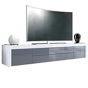 Meuble TV bas La Paz, Corps en Blanc haute brillance ...