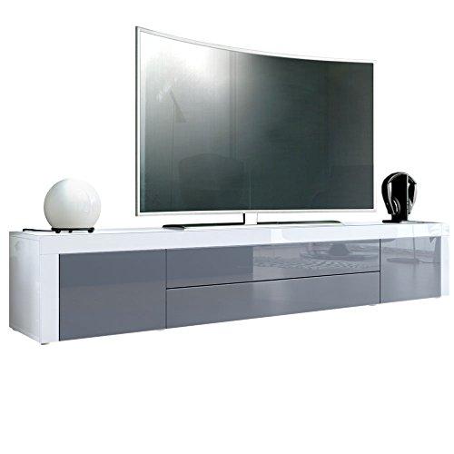 Meuble TV bas La Paz, Corps en Blanc haute brillance/Façades en Gris haute brillance avec une bodure en Blanc haute brillance