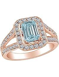 8172212b41e0 AFFY - Anillo de Compromiso de Oro Macizo de 14 Quilates con Diamante  Natural Blanco y