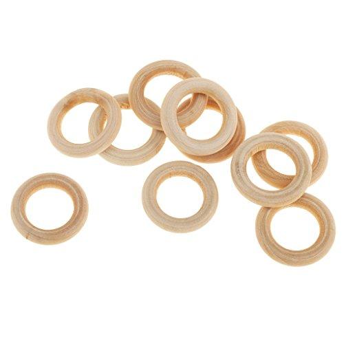 Generic 10pcs Unbehandelten Holz Lose Perlen DIY Armband Halskette Zubehör Papasliebchen Holzring natur - 2cm