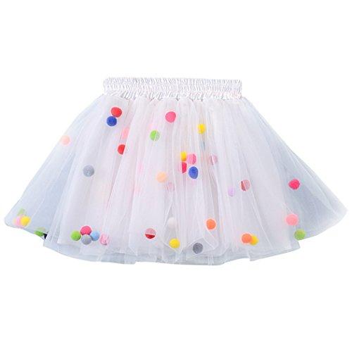 MIOIM Baby Kinder Mädchen Tüllrock Rock Ballettrock Tütü Tutu Unterkleid Petticoat Rockabilly Kurz Kleid mit Flusen Ball 0-8 Jahre