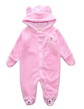 Weant Infant Newborn Clothes Winter Outfits Onesie Bear Hoodie Jumpsuit Romper Baby Clothes For Girl Boy (0-3 Months, Pink) 0