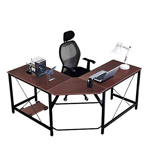 ecktisch holz DlandHome L-Förmigen Computer Schreibtisch 150 cm + 150 cm, Komposit Holz und Metall, Home Office PC Laptop Studie Workstation Ecktisch mit CPU-Ständer, Teak
