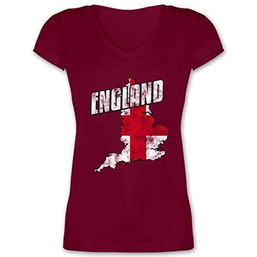 Fußball-Europameisterschaft 2020 - England Umriss Vintage - M - Bordeauxrot - XO1525 - Damen T-Shirt mit V-Ausschnitt
