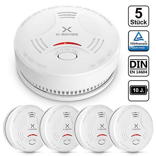 X-Sense Rauchmelder SD11|TÜV und DIN EN 14604 geprüfter Rauchwarnmelder mit 10 Jahren Batterielaufzeit und intelligentem Feueralarm, fotoelektrischem Sensor | Vergleichssieger, 5 Stück