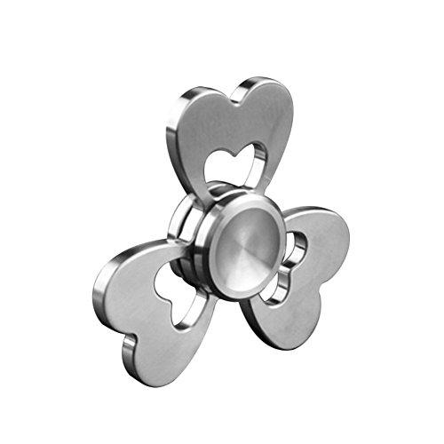 Fidget Spinner, Joha Trebol Aleacion de aluminio mano Spinner, Tri - Spinner Fidget juguetes para adulto y niños - perfecto para ADD, ADHD, y la ansiedad (plata)