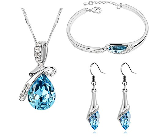 Habors 18K White Gold Plated Blue Austrian Crystal Ocean Drop Pendant Set