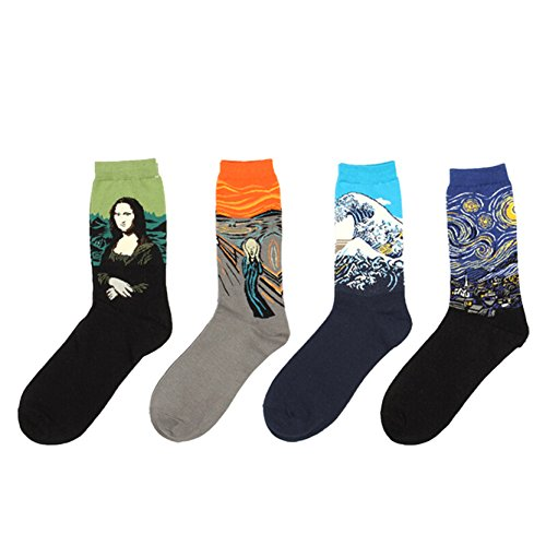 Jiayiqi Berühmte Ölgemälde Kunst Gemusterte Lässig Besatzung Socks 4 Paare MEHRWEG