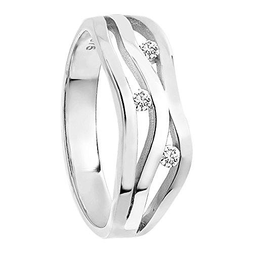 Diamond Line Diamant-Ring Damen 375 Weißgold mit 3 Diamanten 0.10ct.