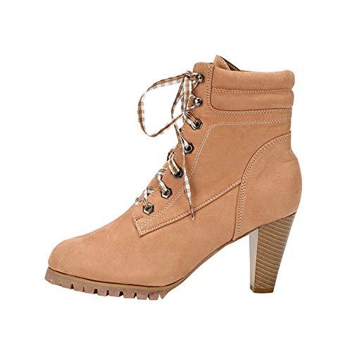 MOIKA Damen Boots Mode Frauen Verband Haut Hochhackigen Damen Sexy Dünne Stiefel Heels Damen Schuhe(235/38,Beige)
