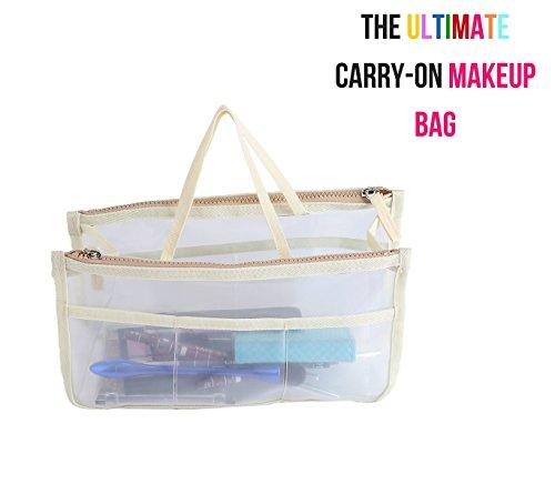 Ducomi Beauty Case Trasparente da Donna per Make Up - 28 x 16,5 x 10 cm - Trousse Impermeabile e da Viaggio - Busta per Borsa con 8 Tasche Capienti per Trucchi, Cosmetici e Accessori (Beige)