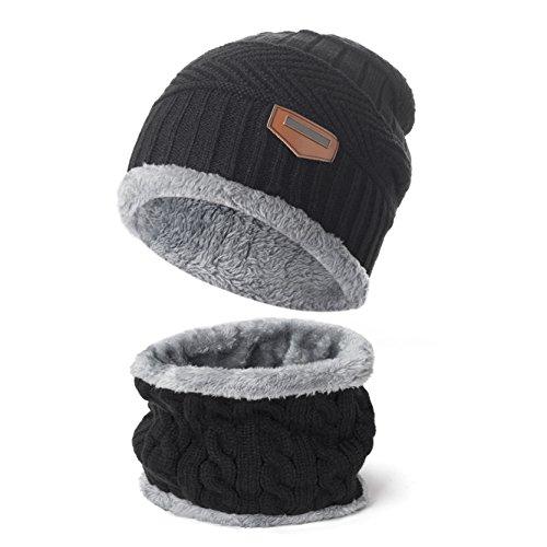 Yidarton 2Pcs Ensemble Homme Hiver Bonnet Chapeau Avec Écharpe Tricot (Noir)