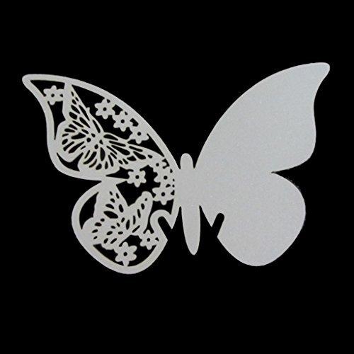 50Stück Shimmer Laser geschnitten weiß Schmetterling Name Platzkarten für Hochzeit champagner/Wein Glas, Party für Tisch Nummer Dekoration (50)