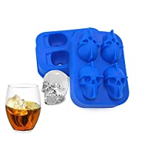 DEEDEEDA Ice Trays, Skull Ice Mold, 3D Silicone Stackable Durable Spill-Resistant Creative Cooling for Whiskey, Cocktail, Beer, Fruit Juice Beverages (2 Packs)