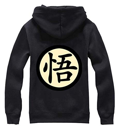 Dragon Ball Einfach Z Kostüm - Cosstars Anime Dragon Ball Z Goku Hoodie Jacket Cosplay Kostüm Zipper Pullover Jacke Outwear Sweatshirt Mantel Schwarz-1 S