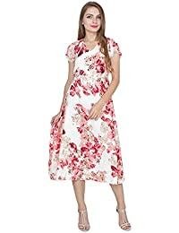 My Swag Women's Floral Printed Short Sleeve V Neck Crepe Maxi Dress