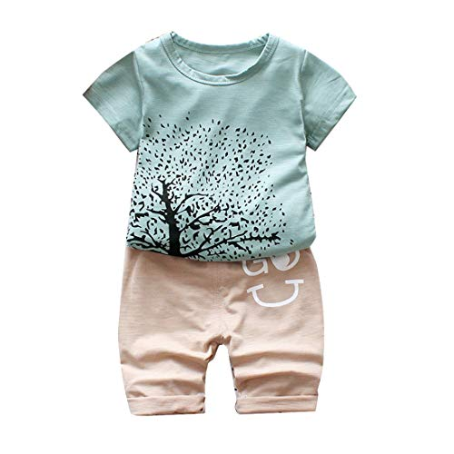 MIUSQ Hopscotch Baby Boys Cotton Graphic Art Half Sleeves T-Shirt and Pant Set in Green Color for Ages 3-4 Years
