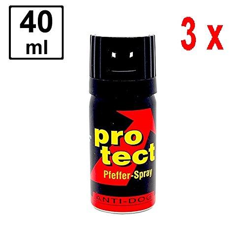 3 x PROTECT Pfefferspray Anti-Dog zur Abwehr von Tieren - 40 ml - Breitstrahl -