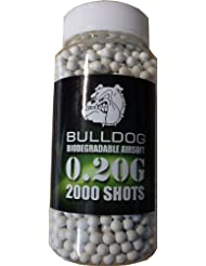 Bulldog High Pro Grade - Munición para pistolas de balines de peso medio (bote de 2000 perdigones biodegradables de 6 mm y 0,20 g), color blanco
