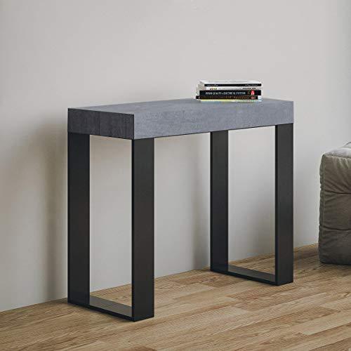 Itamoby Tecno Consolle Allungabile, Pannelli di Nobilitato, Cemento/Antracite, 90 x 40 x 77