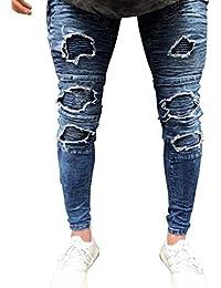 Pantalons en Denim pour Fit Strech Slim Hommes Style Simple Skinny Trous  Destroyed Vintage Chern Denim b4674b6d7626