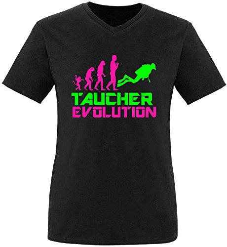 EZYshirt® Taucher Evolution Herren V-Neck T-Shirt Schwarz/Pink/Neongr