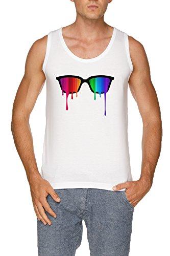 Regenbogen - Spektrum (Stolz) Hipster Nerd Brille Herren Weiß Tank T-Shirt Größe XXL | Men's...