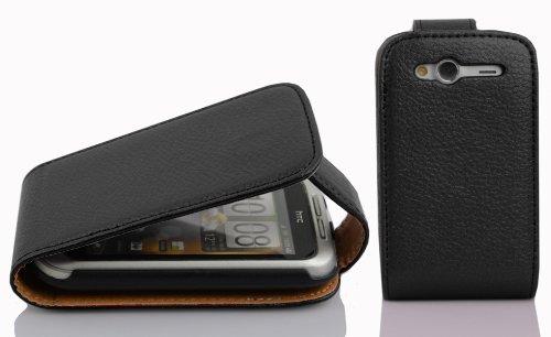 Cadorabo - Flip Style Hülle für HTC WILDFIRE S - Case Cover Schutzhülle Etui Tasche in OXID-SCHWARZ