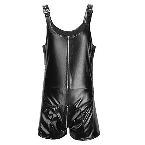 Tiaobug Herren Body wetlook Boxershorts Unterwäsche einteiler Langbein Bodysuit schwarz erotik Kleidung Desouss M-XXL Schwarz