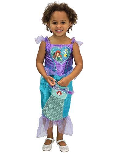 Meerjungfrau Kostüm Ariel - Disney Mädchen Arielle, die Meerjungfrau Kostüm Kleid und Tasche Violett 116