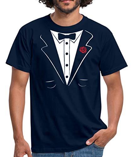 Spreadshirt Anzug Tuxedo Smoking Männer T-Shirt, 3XL, Navy -