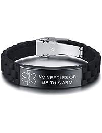 3aa8e90b0494 Vnox Personalizado Personalizado Alerta Médica de Acero Inoxidable Etiqueta  de ID Negro de Silicona Pulsera Ajustable para Los Hombres