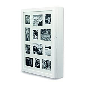 Schmuckschrank, Weiß mit Bilderrahmenfront für 12 Bilder
