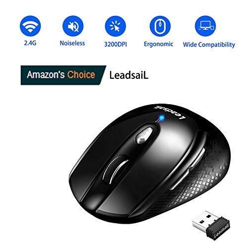 LeadsaiL Leise Kabellose Maus für Laptop, Wireless Mouse 2.4G 3200 DPI 6 Tasten Optische Funkmaus, Schlanke klick Maus mit 6 Einstellbare DPI, USB Nano Empfänger, Eine AA-Batterie Enthalten (Black)