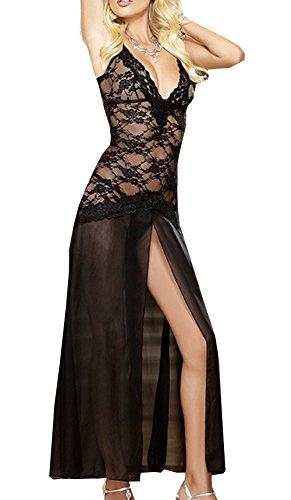 CZIXUN Reizwäsche Damen Spitze V-Ausschnitt Nachthemd Lang Sexy Große Größen (L, Schwarz) (Schwarzen Nachthemd Langen)