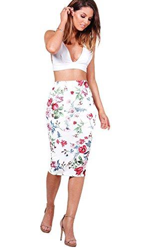 Damen Elfenbein Leah Sommerlicher Midirock Aus Neoprenstoff Mit Blumen-print Elfenbein