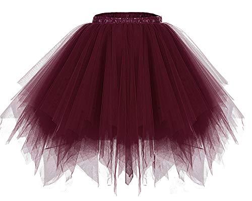 bridesmay Tutu Damenrock Tüllrock 50er Kurz Ballet Tanzkleid Unterkleid Cosplay Crinoline Petticoat für Rockabilly Kleid Burgundy L