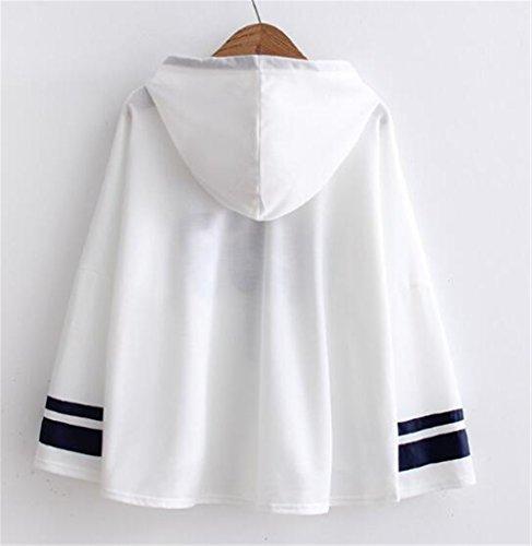 AILIENT Donna Felpe Tumblr Con Cappuccio Invernali Elegante Maglia Pullover Stampato Hoodie Sweatshirt Casuale Sport Taglie Forti Outwear Allentato Giacca Leggera Autunno White