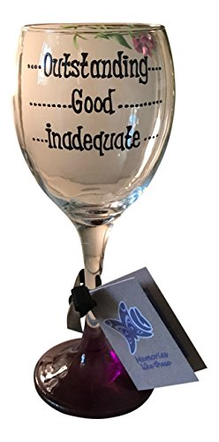 Ausgezeichnete, gute, Unzureichende Hand bemalte Weinglas, Lehrer Geschenk (Bemalt Weingläser Hand Von)