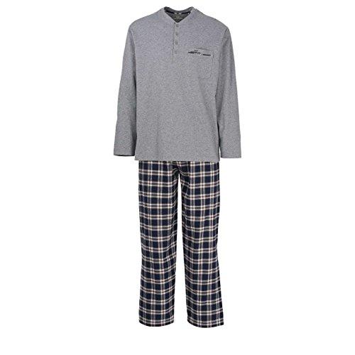 GÖTZBURG Herren Pyjama, langarm, Baumwolle, Flanell, blau, kariert 48 (Flanell-hose Graue)