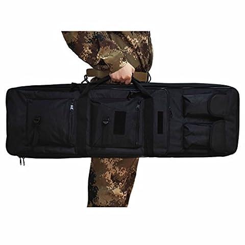 Omonic 48 pouce Fusil tactique étui housse sac pour fusil double sac à dos de rangement avec sangle d'épaule Magazine pochette en fusil de chasse nylon imperméable (noir, 40 pouce(100cm))