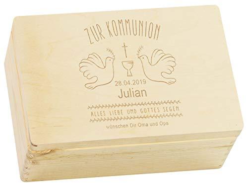 LAUBLUST Holzkiste zur Kommunion - Tauben - Geschenkkiste Personalisiert mit Gravur - ca. 30 x 20 x 14 cm, Natur, FSC®